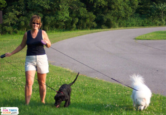 Walking the dog on the Natchez Trace Parkway in Nashville, TN.