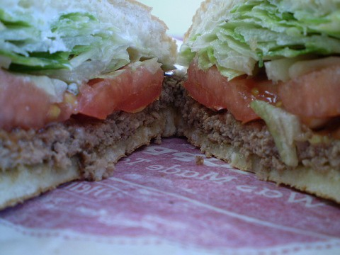Healthy Fast Food Options - A regular, single-patty hamburger is much healthier than the ooey-gooey, multi-decker burgers at fast food restaurants. photo by evelynishere on Flickr