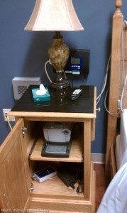 this is what the bedside table looked like during my sleep test at a sleep center